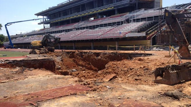 The hole which extends into the north end zone.