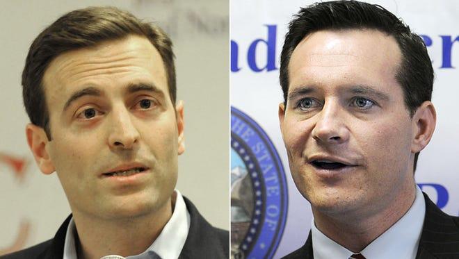 Republican Adam Laxalt, left, and Democrat Ross Miller are running for Nevada attorney general.