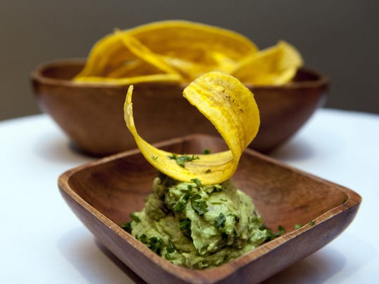 135110 --- Edgewater ---   Guacamole and plantain chips at Rebecca's in Edgewater. AMY NEWMAN/STAFF PHOTOGRAPHER