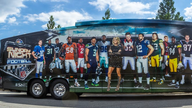 """The """"Sunday Night Football"""" bus will be at Lambeau Field for Sunday's New York Giants -Green Bay Packers game."""