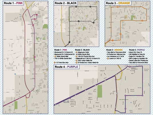 A map of the Oktoberfest bus routes in Alamogordo.