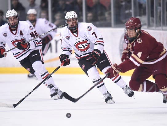 St. Cloud State's Nick Poehling concentrates on the