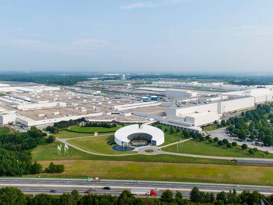 This 2013 aerial view of the BMW plant in Spartanburg County shows the massive expanse of the facility, which by 2018 was producing about 1,400 cars a day.
