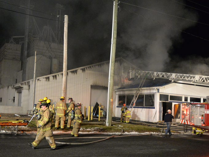 Fire swept through a Palmyra feed mill, located at