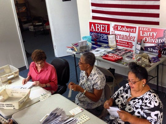 KIRSTEN CROW/CALLER-TIMES In this 2016 photo, Barbara Cline (left) are seen sorting newsletters by the Coastal Bend Texas Democratic Women with Jean Pope and Carmen Duron. Cline, a longtime Democratic party activist, died during the weekend. She was 91.