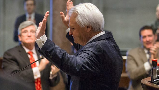 Senate Speaker Ron Ramsey, R-Blountville, waves to colleagues after announcing his decision not to run for another term from the well of the Senate on Wednesday, March 16, 2016. Ramsey has been the speaker of the upper chamber since 2007 and was a key figure in the Republican takeover of all three branches of state government.
