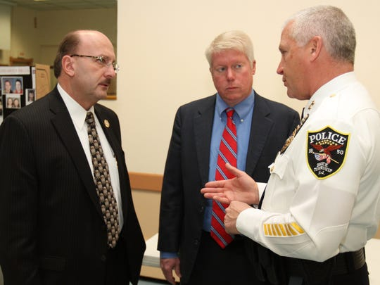 Police Chief Nils Bergquist talks with Ocean County