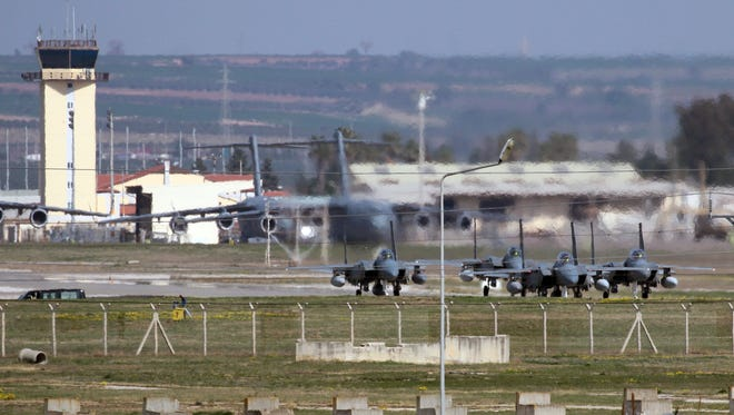 Saudi jet fighters parked at Incirlik Air Base near Adana, southern Turkey, Friday, Feb. 26, 2016.
