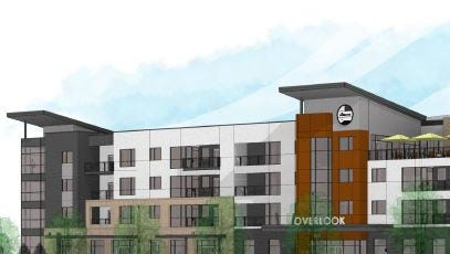 A rendering shows The Overlook apartments proposed near Horsetooth Road and John F. Kennedy Parkway.
