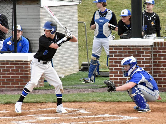 Waynesboro's Preston Witte prepares to swing at a pitch during a non-league game against Lower Dauphin on opening day, Friday, March 24, 2017 at Waynesboro.