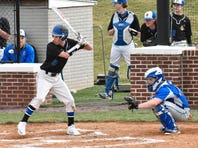 Waynesboro's Preston Witte (left) prepares to swing at a pitch during a non-league game earlier this season. Witte was walked in the eighth inning in a 5-4 win over Carlisle on Saturday, April 1, 2017.