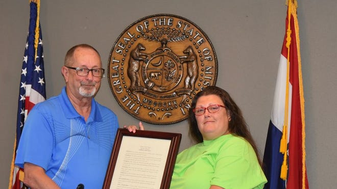 In a special proclamation, Anna Turney, Neosho, was recognized for her efforts in forming a Friends of the Parks group in Neosho and for her ongoing volunteer efforts for the parks.