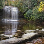 Schoolhouse Falls, in Panthertown Valley of the Nantahala National Forest about 55 miles from Asheville, N.C., is about 20 feet high, compared with nearby Raven Rock Falls at about 150 feet high.