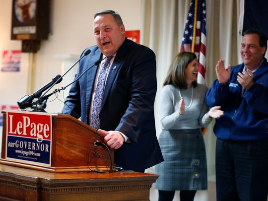 Republican Maine Gov. Paul LePage speaks a campaign rally with support from New Jersey Gov. Chris Christie, right, on Monday, Nov. 2, 2014, in Portland, Maine.