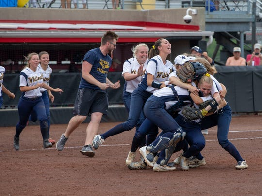 Whitnall players rush the field after the final out to celebrate the Falcons' 3-1 victory over Mosinee in the WIAA Division 2 state title game on Saturday.