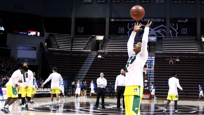 Parkview guard Lencorya Grady rebounds a basketball during warm-ups for a 2016 Greenwood Blue and Gold quarterfinal game against Clever at JQH Arena.