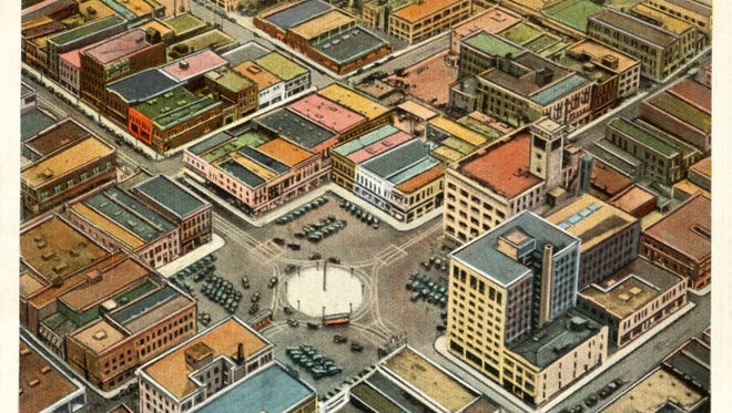 """Aerial view of the """"pie"""" on the public square"""