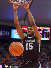 St. Bonaventure forward LaDarien Griffin dunks against Syracuse during the first half Friday at the Carrier Dome.