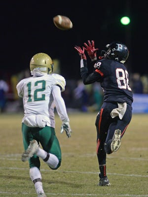 Parkway's Terrace Marshall Jr. pulls in a touchdown pass from C.J. Morgan during the Panthers' Class 5A second round playoff win over Acadiana.