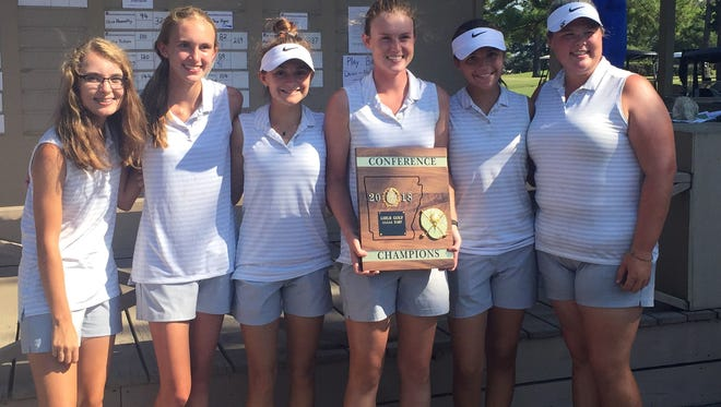 The Mountain Home Lady Bomber golf team won its second straight conference title on Wednesday at the 5A-East Conference Tournament at West Memphis. Members of the Lady Bombers are: (from left) Madelyn Smith, Kennedy Wyatt, Sydney Czanstkowski, Kenzie Collins, Ella Brashears and Haley Czeschin.