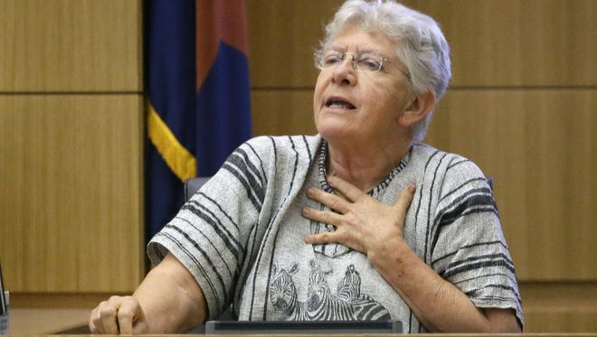 Diane Post, a Phoenix poll worker, testifies on April 25, 2016, about voting problems with Democratic ballots during the presidential preference election.