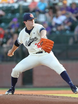 Auburn pitcher Casey Mize pitches against LSU on May 18, 2018, at Hitchcock Field at Plainsman Park in Auburn, Ala.
