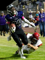 Shadow Hills running back Tony Williams runs the ball against Big Bear. The rivalry between the two teams could end if the Knights join the Desert Valley League.