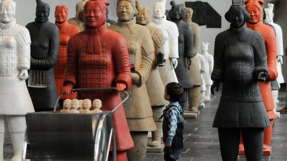 Terra cotta Women Army by Marian Heyerdahl. Exposition at Old Church in Delft, Netherlands.
