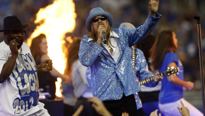 Kid Rock performed during halftime of the Detroit Lions-Houston Texans game Thursday, Nov. 22, 2012, at Ford Field.  KIRTHMON F. DOZIER/Detroit Free Press