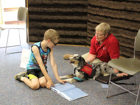 Therapy dog Zayle, gives his full attention to Wesley