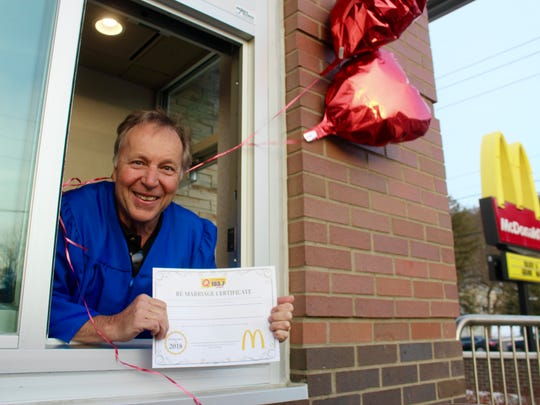 Cayuga Radio Group Q-Country 103.7 DJ Chris Allinger performed wedding vow renewals for a dozen couples at Ithaca's McDonald's Tuesday evening.