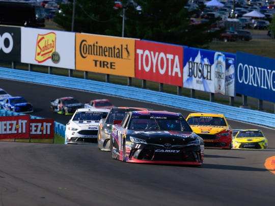 Denny Hamlin leads the field during the Cheez-It 355
