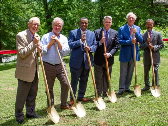 Officials broke ground on a new $4.3 million music building for the S.C. Governor's School for the Arts and Humanities on Wednesday. Pictured are, from left to right: Bruce Halverson, former president; Bob Hughes, board member; LeShown Goodwin, board member; Chad Prosser, board chair; Peter Parrott, board member; and Cedric Adderley, Governor's School president.