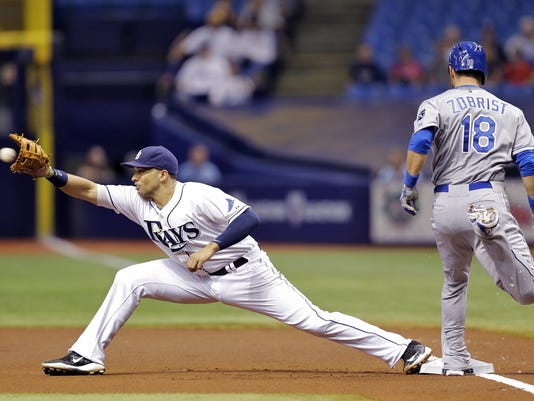 Kansas City Royals' Ben Zobrist (18) beats the throw to Tampa Bay Rays first baseman James Loney for an infield single during the first inning of a baseball game Friday, Aug. 28, 2015, in St. Petersburg, Fla.  (AP Photo/Chris O'Meara)