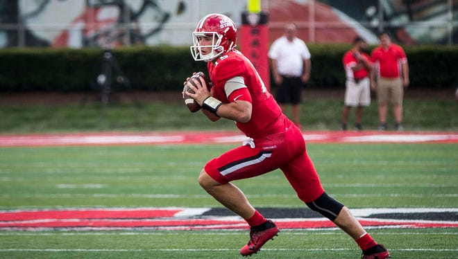 Ball State's Riley Neal looks to pass against Tennessee Tech on Sept. 16 at Scheumann Stadium. Ball State won the game 28-13.