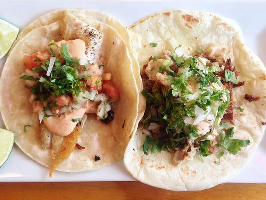 Tilapia taco and taco el pastor at Taqueria la Picardia