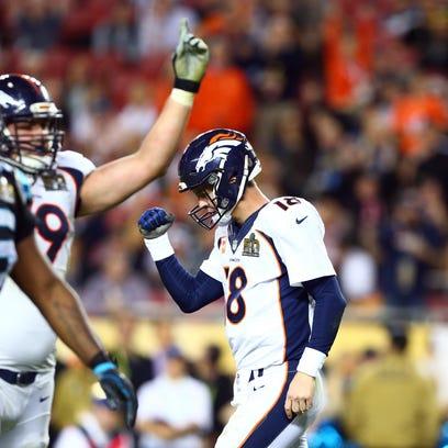 Denver Broncos' Peyton Manning (18) warms up before the NFL Super Bowl 50 football game against the Carolina Panthers, Sunday, Feb. 7, 2016, in Santa Clara, Calif. (AP Photo/Julio Cortez)