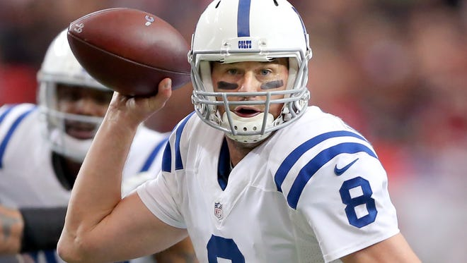 Indianapolis Colts quarterback Matt Hasselbeck (8) looks to pass the ball during the first half of an NFL football game Sunday, Nov. 22, 2015, at Mercedes-Benz Stadium in Atlanta, Georgia.