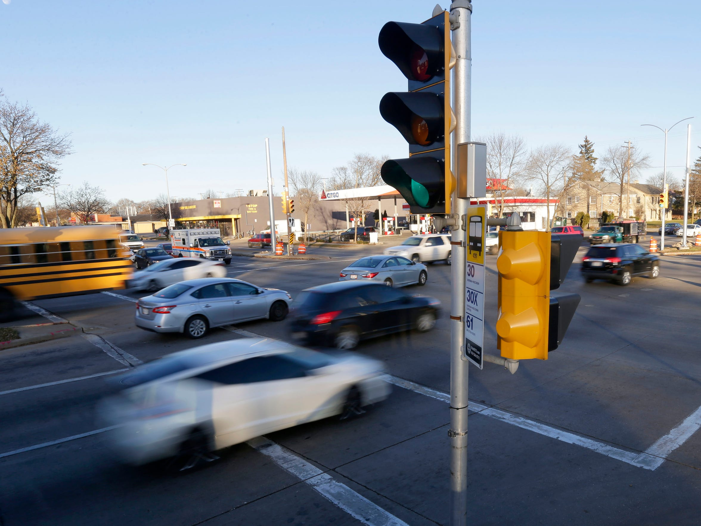 Motorists on West Capitol Drive looking northwest at North Sherman Boulevard. Milwaukee has a problem with reckless driving, and some have argued the city should use cameras to electronically monitor dangerous intersections and automatically issue traffic citations.