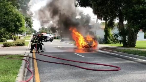 Titusville fire crews extinguish a car fire on U.S. 1. July 5, 2018.