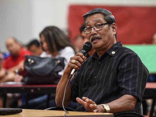 Sen. Joe San Agustin talks about a bill he co-authored to change Simon Sanchez High School into a charter school, during a Guam Education Board meeting at the Yigo campus on Tuesday, April 18, 2017.