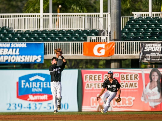 Gulf Coast junior Collin Camarigg catches the ball for an out against King High School during the Class 7A state semifinal at Hammond Stadium in Fort Myers on Wednesday, May 31, 2017.