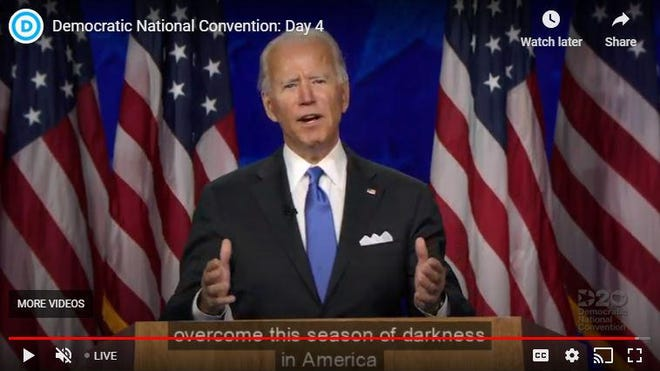 Joe Biden delivers his acceptance speech to conclude the four-day Democratic National Convention, conducted almost entirely online because of the COVID-19 pandemic.
