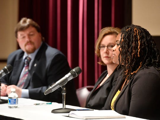 Panelists included Laura Berlind, founding executive director of The Sycamore Institute, a nonpartisan public policy research center.Adriane Bond Harris, senior advisor for affordable housing for the Mayor's Office of Economic Opportunity and Empowerment.Jeremy Heidt, director of industry and government affairs at the Tennessee Housing Development Agency took questions from the audience at the Tennessean Affordable Housing Forum at the Nashville Public LibraryWednesday April 26, 2017, in Nashville, TN