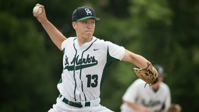 Jack Dubecq while pitching for St. Mark's High.