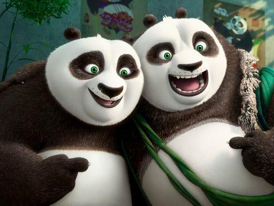 Po meets his long-lost panda father Li (Bryan Cranston,