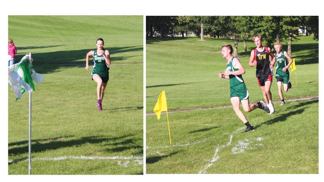 (Left) St. Mary's senior, Kayla Schroepfer, powered to the finish line on Sept. 10 at the Sleepy Eye Golf Club. (Right) Knights' boys leaders, Nate Fliszar (left) and Joshua Hagen (right) approached a corner on the race course,Thursday, with GFW runner Evan Elder between them. The three boys finished the race in the same order.