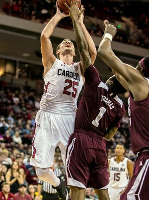 Mindaugas Kacinas (25) is confident USC can have a better showing at Texas A&M than it did at Georgia.