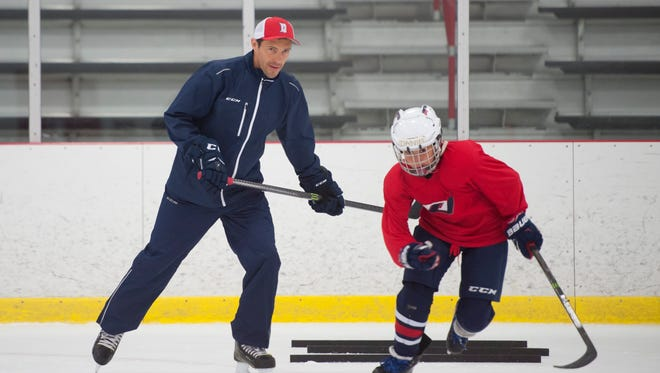 Pavel Datsyuk runs drills during his youth hockey camp Saturday morning at Orchard Lake St. Mary's. He later announced his was leaving the Red Wings.