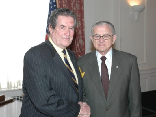 Hugh O'Brian, right, with the late Arthur J. Gladfelter at the Rotary Club of York on Feb. 1, 2006.